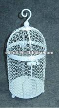 KS4744 Gardrn deco metal hanging white bird cage