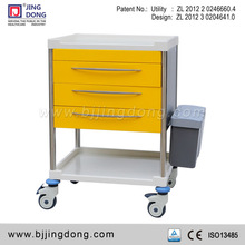 Colorful utility Hospital Medication/drug Trolley /cart with 3 drawers