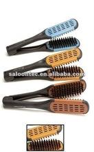 Hair straightening brush ceramic double side boar hair brush