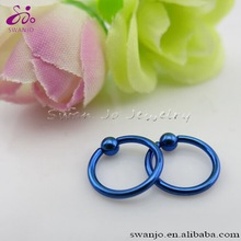 Titanium anodized Dark Blue Color captive bead ring Nose Lip Labret Eyebrow Ring Fashion CBR Body Piercing Jewelry Wholesale