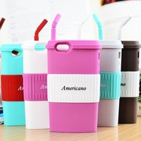 2014 newest Korean style silicone coffee cup case for iphone 5 5s with stand