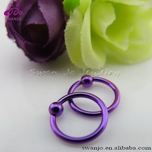 Titanium anodized Purple Color captive bead ring Nose Lip Labret Eyebrow Ring Fashion CBR Body Piercing Jewelry Wholesale