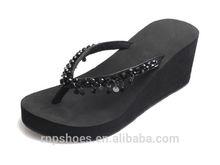 Fashion Handmade beaded latest design women high heel slipper