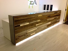 modern hotel reception counter,unique wood people counter design