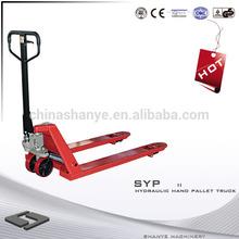 2014 SHANYE 2500kg hand hydraulic carrier hand pallet truck rubber wheel