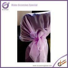 Fashionable design garnet wholesale cheap wholesale organza and elegant wedding chair brooch sash cheap chair covers chair sashe
