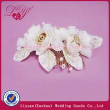 Fabric flowers decorated custom bridal hair comb