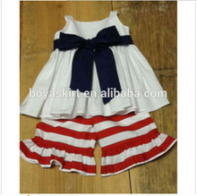 Wholesale stripe white sleeveless top with belt ruffled outfit lovely girl ruffled stripe outfit infant western girls outfit