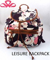 WL-181 100%Cotton canvas floral printing daily fashion korean style backpacks