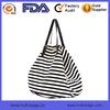 2015 Stripes Canvas Leather Tote Bag Big Black Stripes Women Tote Bag China Factory