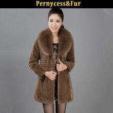 Long Style High Quality Women Genuine Rabbit Fur Coat and Fox Fur