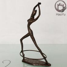 cast iron metal dancing girl bronze sculpture for home decor the rhythmic gymnastics
