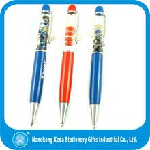 2014 Plastic Promotion Liquid pen,Liquid floating pen with 3D floater