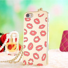 For iPhone 5 Lip Silicone Case With Lanyard