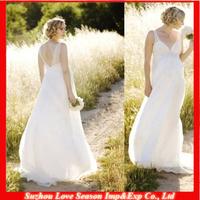 HP4033 Hot Sale Charming White Sweep Train Chiffon Pregnant Women Maternity Wedding Dresses