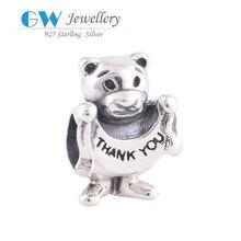 Bear bead jewelry 925 sterling silver charm Jewelry Bead