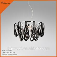 12- lights jowin lighting modern black glass chandelier black chandeliers