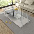 transparente tampo de vidro temperado e uma prateleira de mdf com base elegante mesa de café