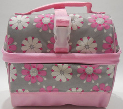 Pink Gray Flower Retro Kids Lunch Bag Polyester Material