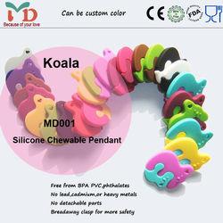 bpa free silicone teething koala pendant/silicone beads wholesals/silicone jewelry for fashion mom