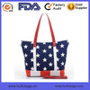 2014 Navy Blue Star Beach Bag Printed Canvas Tote Shoulder Bag