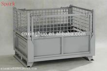 Folding steel metal mesh stillage cage