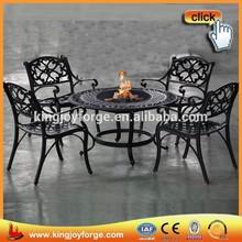 4-person Cast Aluminum Patio Conversation Set With Fire Pit Table