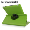 360 Degree rotation stand leather case For ipad Mini 1/2 with Back Shell for iPad Mini 1/2