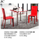 A03/DC-88 Glass Dining Table and Chair Sets with red Color in Dining Room for Sale/Iron Frame Table Base