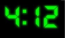 7 segment green LED digital clock screen