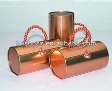 popular glossy copper round cylindrical tin container