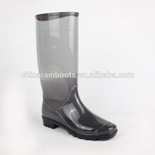 high heel cheap pvc transparent clear rain boot for women