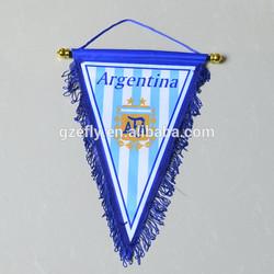 Digital printed polyester Argentina felt hanging soccer pennant flag