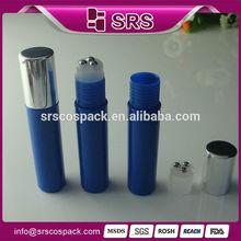 Bule plastic bottle 3 steel roller ball, wholesale 10ml plastic refillable roll on bottle with three steel ball