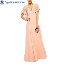 Elegant ladies maxi short sleeve beaded maxi pink chiffon evening dress woman plus size clothing
