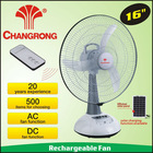16'' Small rechargeable table ac fan & solar system charge