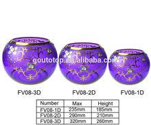 round egg-shape Bowl glass vase/purple round glass vase for gold flower/cheap glass vases