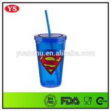 16 oz LFGB /FDA reusable double walled acrylic cup with superman logo