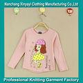 การออกแบบแฟชั่นใหม่สาวแขนยาวเสื้อยืดของถักผ้าฝ้าย100%ราคาถูกเสื้อยืดpringting, ที่กำหนดเองเสื้อยืดสำหรับเด็ก