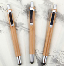 2015 Recycle wooden ball pen with touch pen for promotion