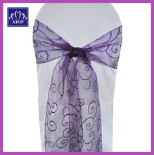 Embroidered Banquet Organza Sash For Chairs