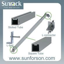 Adjustable flat roof solar panel mounting rails system