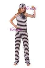 2015 best seller woman prisoner carnival costumes stripe halloween thief costumes
