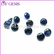 High quality perfect round brilliant cut synthetic blue sapphire stone