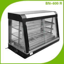 Curved glass stainless steel hot food display case warmer