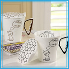 Wholesale Factory A Grade Ceramic Heat-resistant Colored Glaze White Creative Fashion Printed Fish And Cat Ceramic Beer Mug