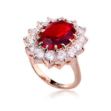Best selling platinum spark Red CZ Rings