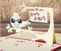 feliz cumpleaños 3d tarjetas de felicitación láser tema búho