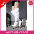 Damas de invierno elegante dama botas por encima de la rodilla del alto talón zapatos de arranque con plataforma sexy tacones de aguja talón botas de cuero mujer!