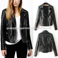 2015 cool lady Trendy Lapel Collar Slim Motorcycle Biker Zipper Faux Leather Jacket Coat